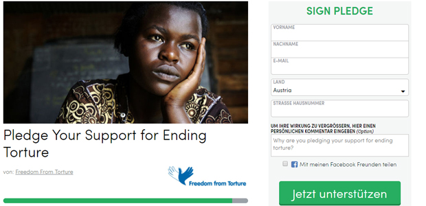Freedom from Torture_Kampagne des Jahres 2017; Foto: Screenshot www.thepetitionsite.com/de-de/takeaction/535/826/353/