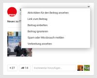 """Google+ Ripples heißt auf Deutsch """"Verbreitung ansehen""""."""