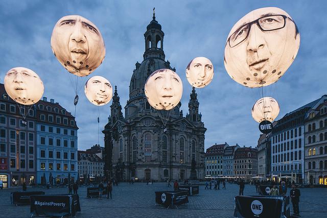 Medienstunt von ONE: Riesenballons mit den Gesichtern der Staats- und Regierungschefs der G7 (Foto: Sven Döring/ Agentur Focus)