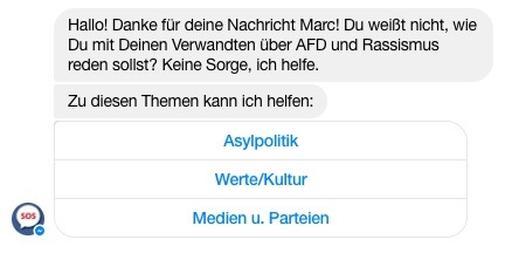 """Startseite des Facebook Bot """"SOS Weihnachen"""""""
