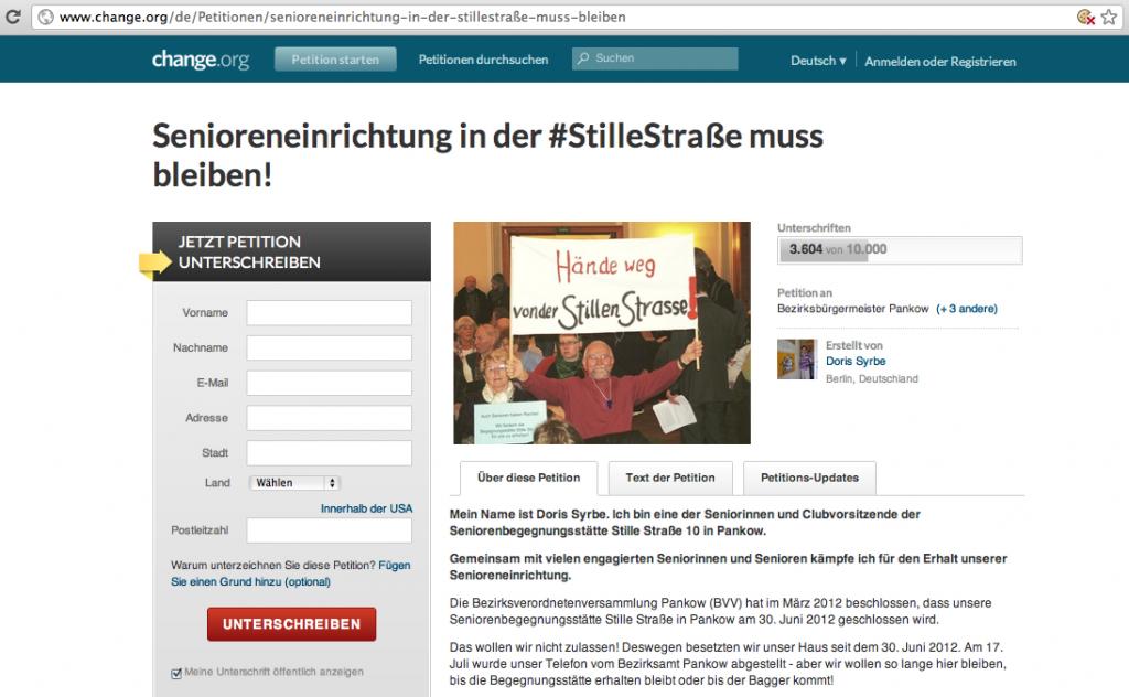 Mehr als 3.600 Unterstützer hat auf Change.org die Petition für den Erhalt eines Seniorentreffs in Berlin.